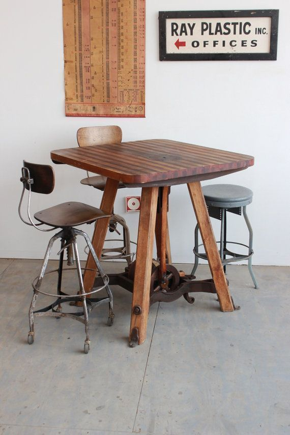 Vintage #antique Industrial Dining/ Cafe/ Counter/ Bar Table