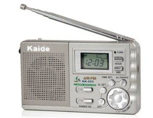 Kaide AM FM 2-Band Digital Clock Radio (Silver) by Kaide
