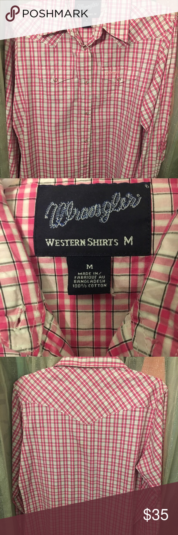 Wrangler Western Show Shirt Cute pink and white plaid show shirt. This is more of a pressed and formal shirt but looks cute with a t-shirt underneath. Only worn a couple times Wrangler Tops Button Down Shirts