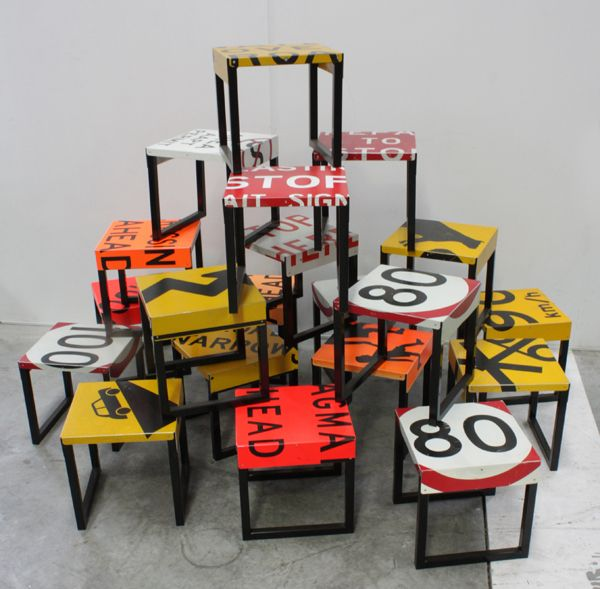 Recycled Road Sign Stools For Queensland Restaurant Design - Road sign furniture