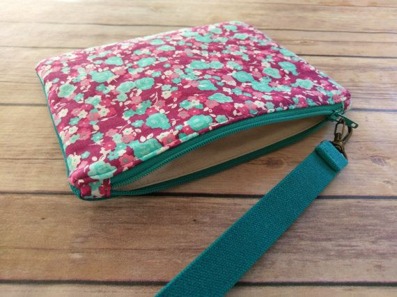 Pink Teal Floral WristletClutch BagTeal Waxed by ditsybritishcraft