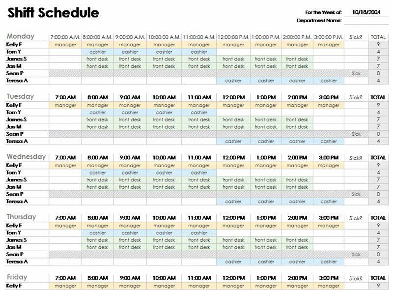 Employee Schedule Template. Editable Monthly Staff Work Schedule