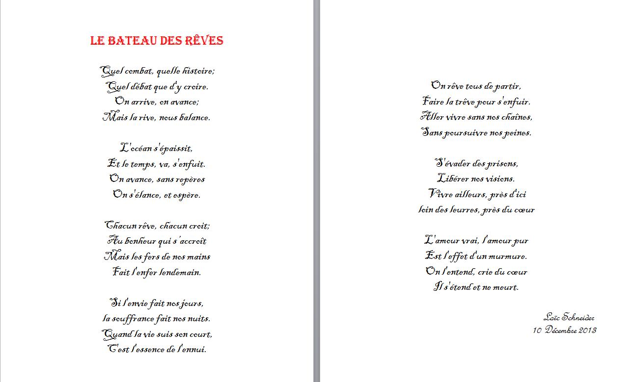 76 Le Bateau Des Rêves Poeme Poesie Peine Et Trèves