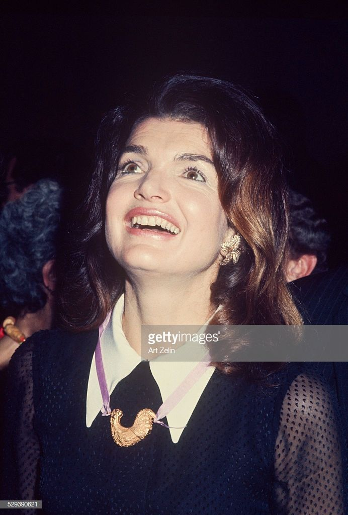 Photo of Jacqueline Kennedy Onassis, necklace given at Bed-Stuy event; circa…