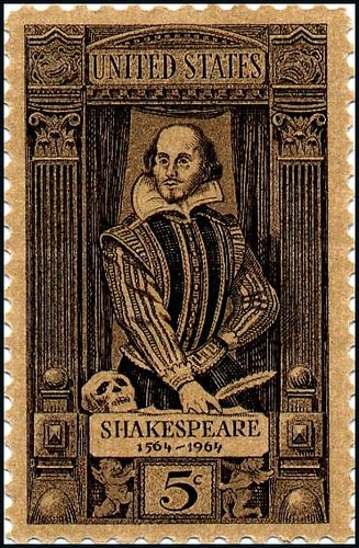William Shakespeare stamp issued in 1964. This is one of ...