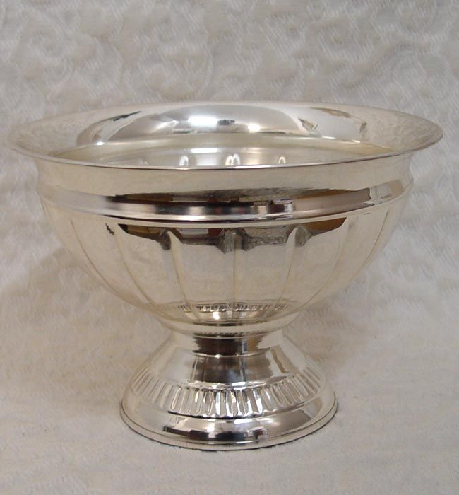 Silver Plated Pedestal Bowl Vase Aluminum Flower Container