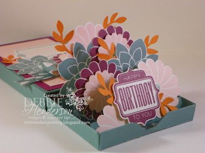 Pop Out Matchbook Card. Stampin' Up! Flower Patch, Tag Talk and the Bird Punch. Debbie Henderson, Debbie's Designs.