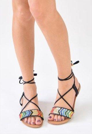SHOW+UP+Metallic+Pattern+Sandals+-+Black