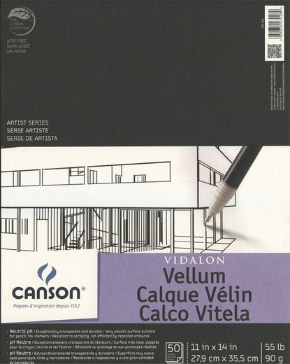 Canson Vidalon Translucent Vellum Pad 11x14 50 Sheets Canson Vellum Military Discounts