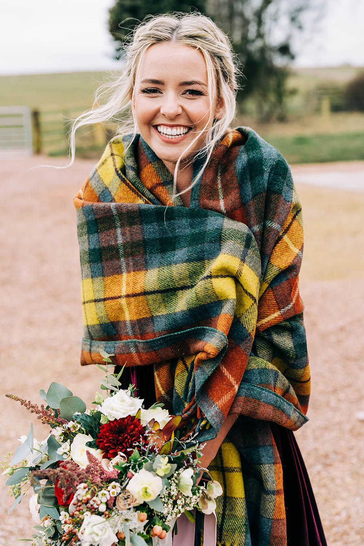 Gorgeous Bride In Scottish Tartan Shawl Winter Wedding Shawl Scottish Wedding Kilt Wedding [ 1500 x 1000 Pixel ]