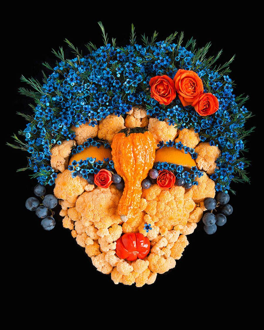 Faces made from Fruits and Vegetables