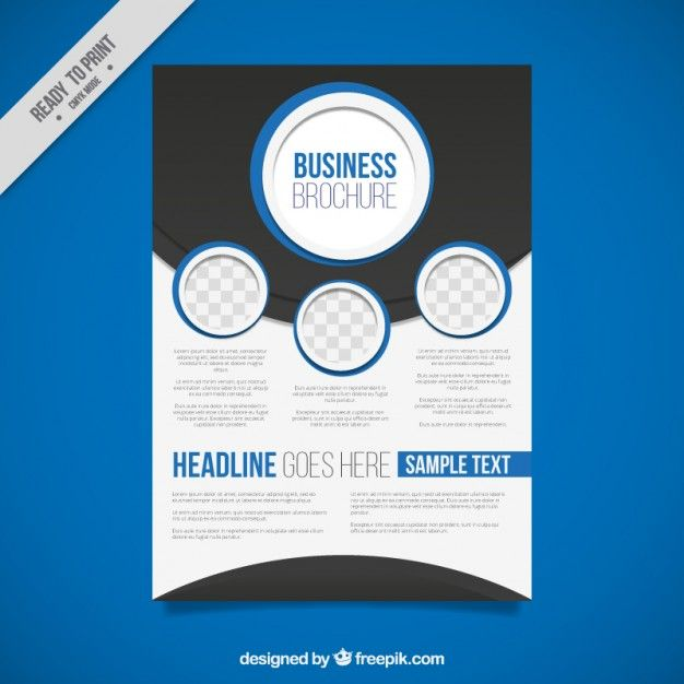 Abstract Business Brochure With Blue Circles Free Vector  Flyer