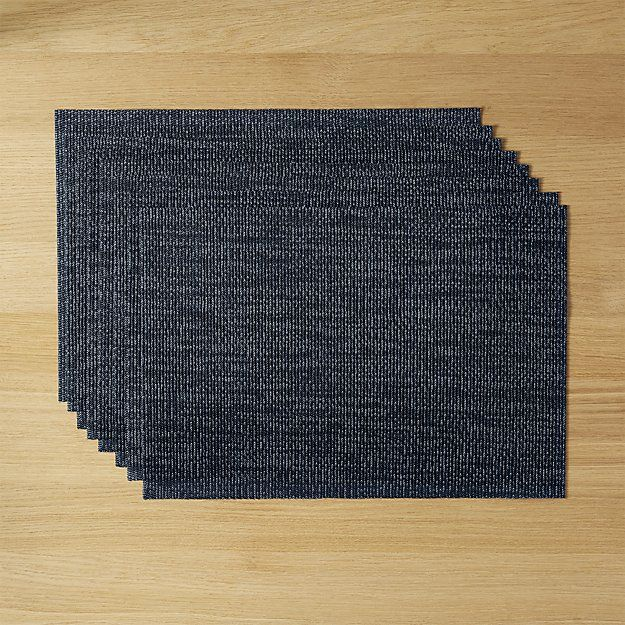 set of 8 net navy blue placemats   CB2