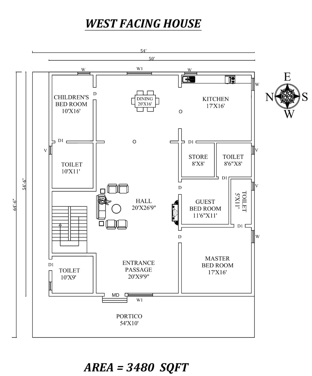 50 X 54 6 Beautiful 3bhk West Facing House Plan As Per Vastu Shastra West Facing House House Plans Building Layout