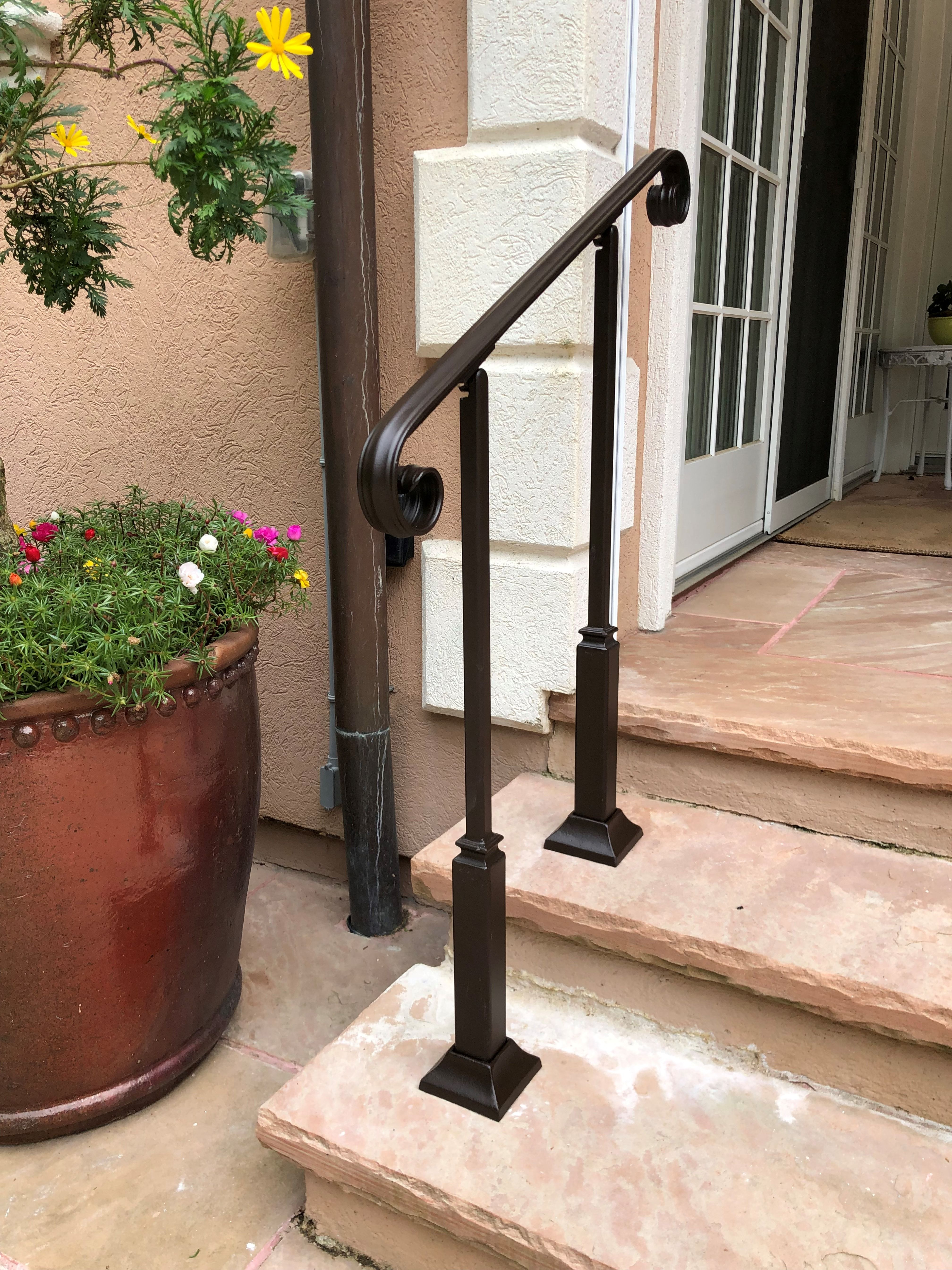 3ft Wrought Iron Railing W 2 Posts Rubbed Bronze Look Finish
