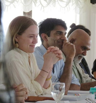 Jemima West, Nikesh Patel and Mano Maniam at the script read-through for Indian Summers | Courtesy of Rebecca Eaton for MASTERPIECE