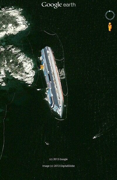 Costa Concordia On Google Earth Google Earth Earth From Space Unexplained Mysteries