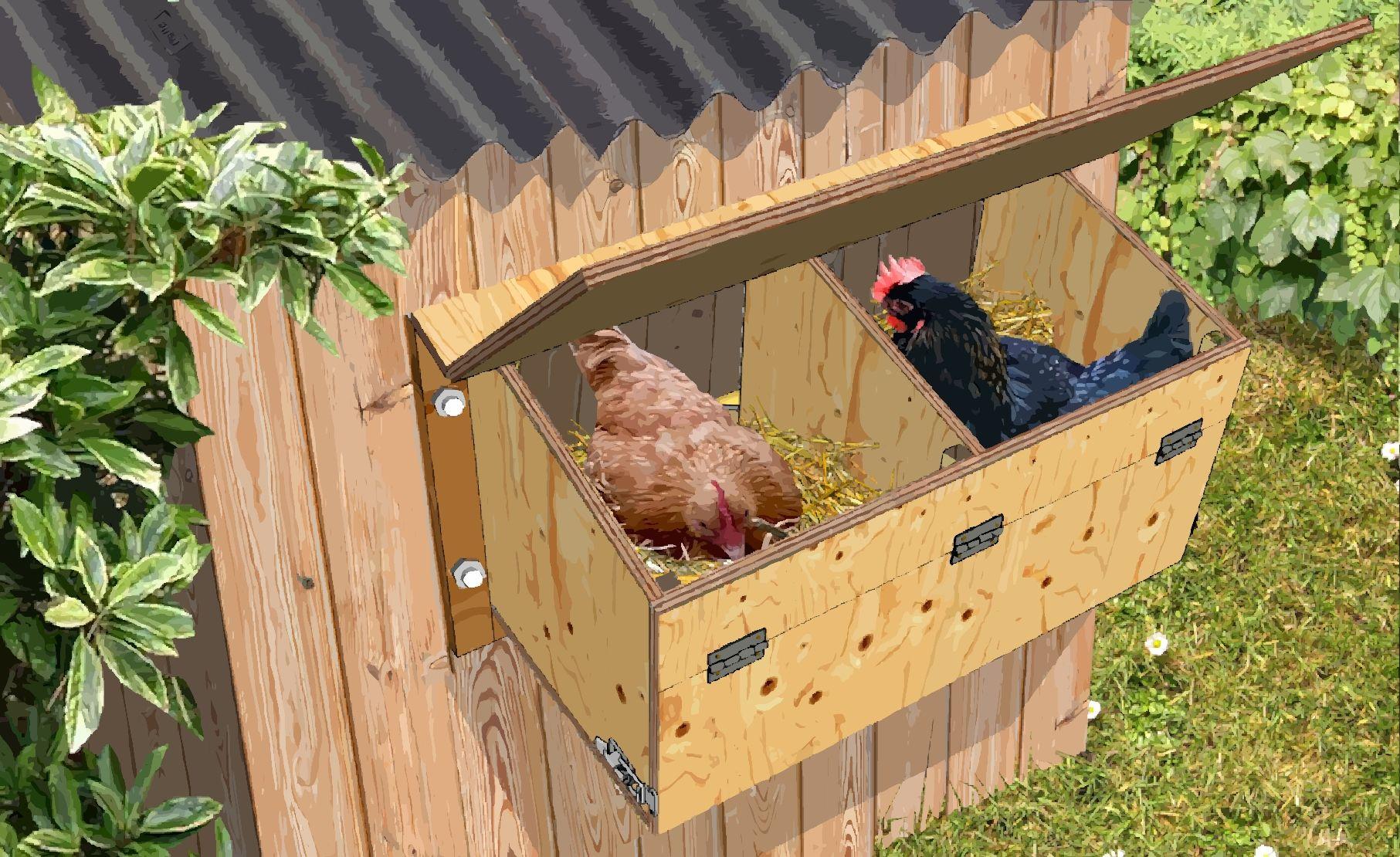 Il Y A Deux Methodes Pour Construire Et Installer Un Nichoir Pondoir Pour Les Poules Soit Pondoir Poulailler Fabriquer Un Poulailler Construire Un Poulailler
