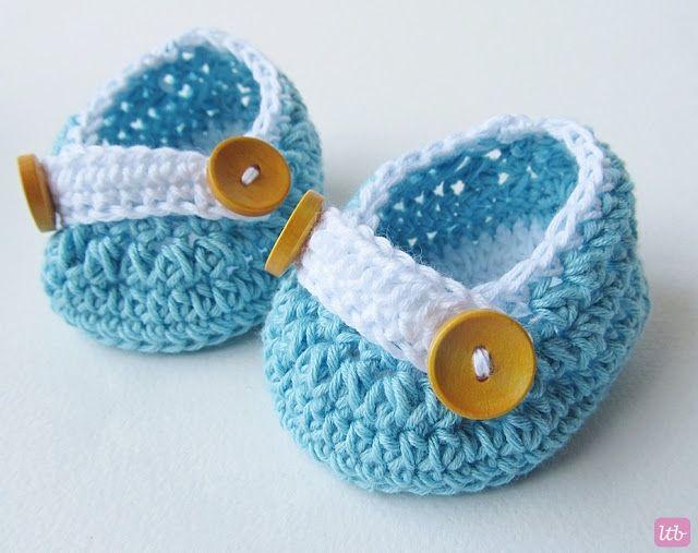 Crochet Newborn Shoes} | Patucos crochet | Pinterest | Patucos ...