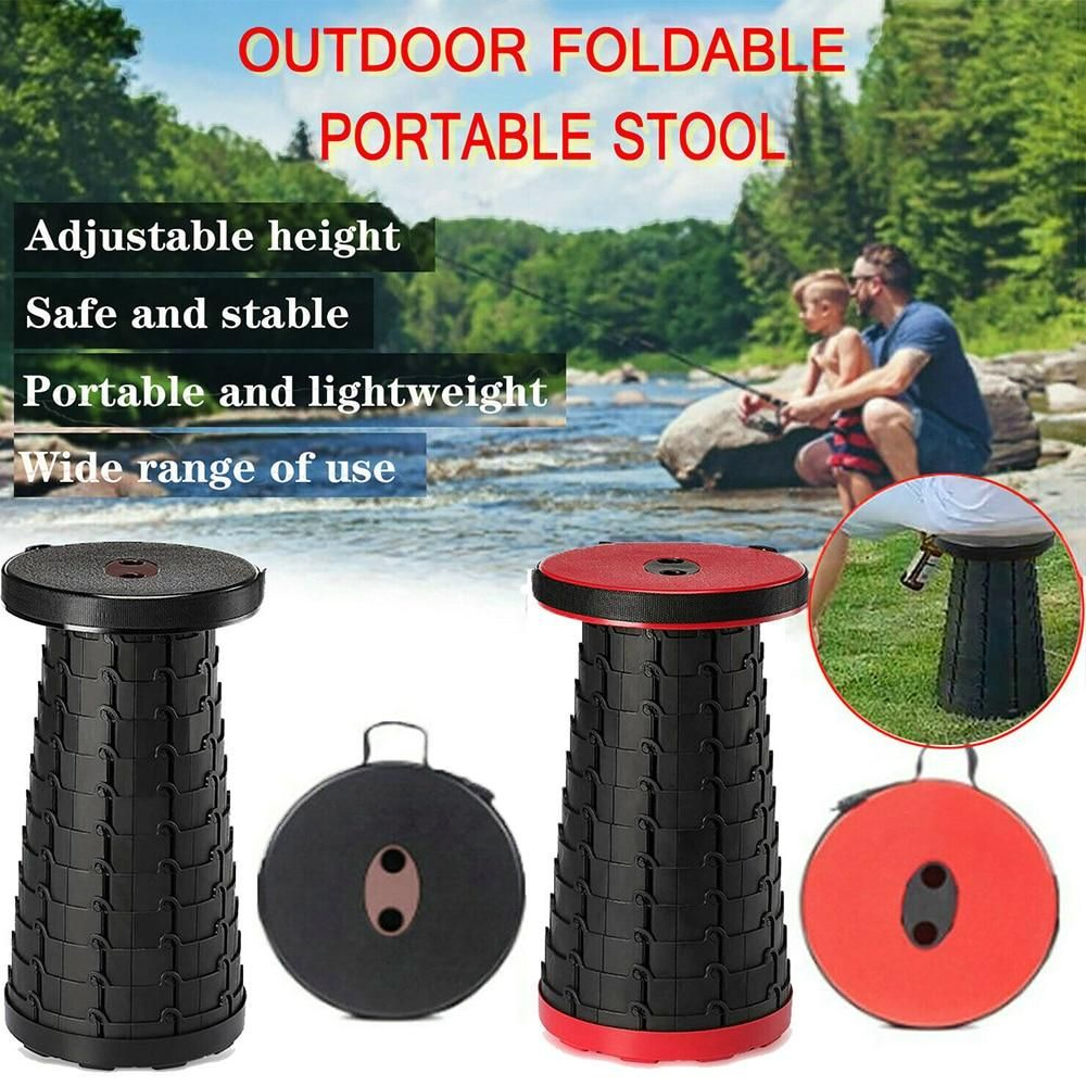 Portable Folding Stool Seat Retractable Plastic Outdoor Camping Fishing Chair
