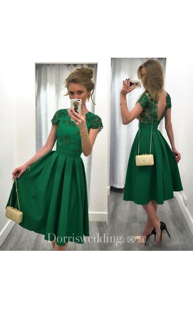 Backless A Line Appliques Tea Length Party Gown With V Back  d205e539e