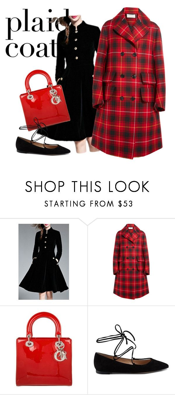 """Red & Plaid all over"" by yoonbyul ❤ liked on Polyvore featuring WithChic, Gucci, Christian Dior and Gianvito Rossi"