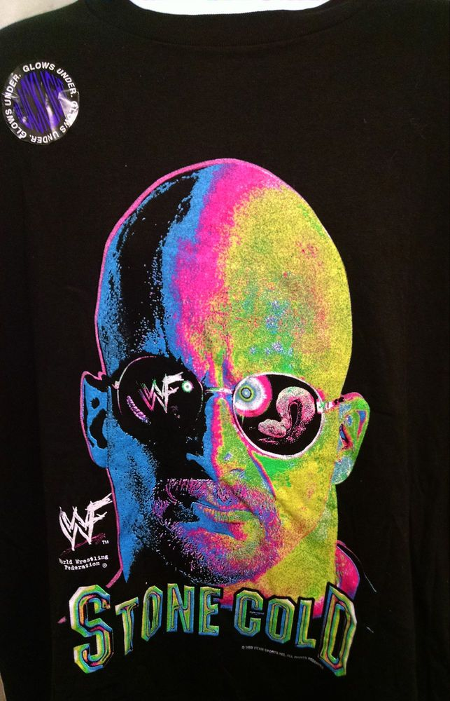 NWT Deadstock Stone Cold Steve Austin WWF WWE Blacklight Graphic T-Shirt Sz 2XL #TNT #GraphicTee