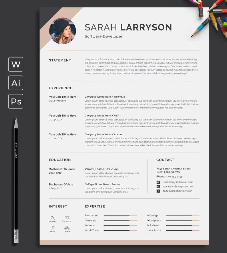 Resume Template Professional Resume Cv Template Modern Etsy Resume Template Word Resume Template Professional Resume Cv