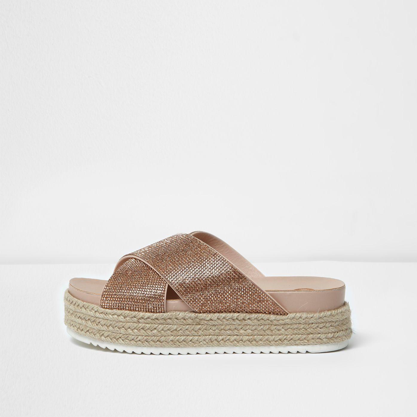 1dc5cb7a33 Gold embellished espadrille flatform sandals | S H O E S ...