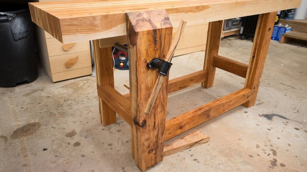 Hickory Workbench Leg Vise And Dog Holes Woodworkingbench