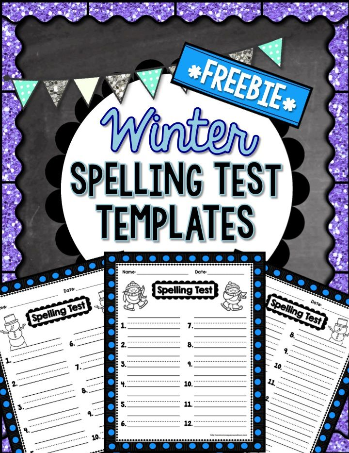 FREEBIE!!** Spice up your weekly spelling test with these winter - free test templates