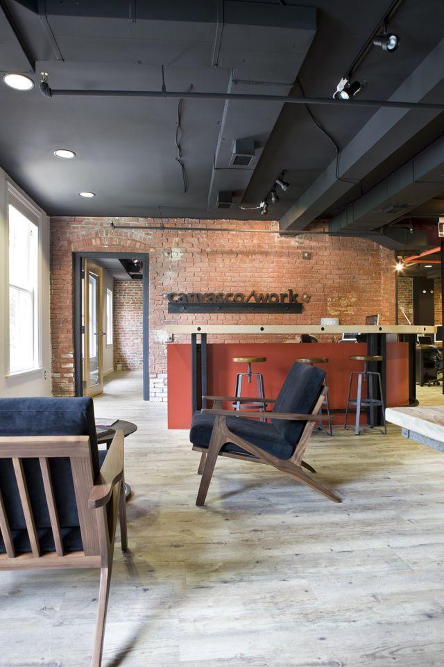 Office tour canvas co s washington dc coworking office - Faux plafond industriel ...