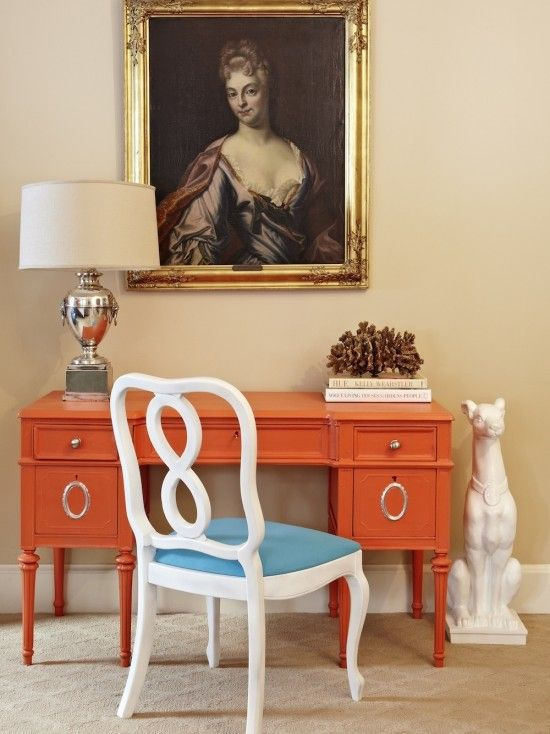 Painted Furniture Orange @Sharon Macdonald Plummer Inspriation For Office  Desk?! Love That Chair Too!