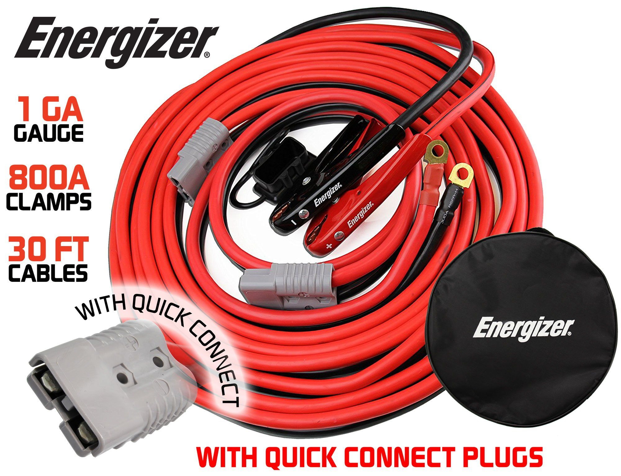 Energizer 1 Gauge 800a Permanent Installation Kit Jumper Battery Cables With Quick Connect Plug 30 Ft Booster Jump Start Enb 130 30 Al Energizer Booster Plugs