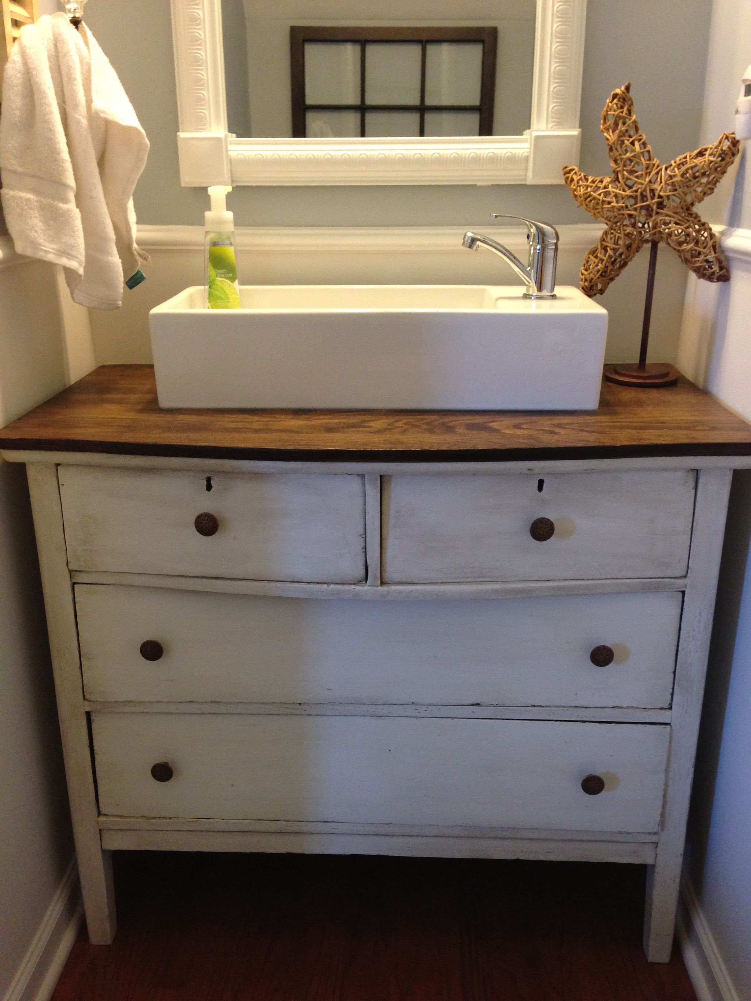 Replaced pedestal sink with refurbished dresser and a vessel sink ...