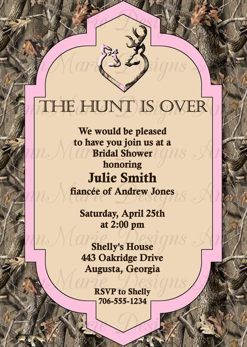 pink camo bridal shower invitation real tree bridal shower invite size of card is 5x7 please only purchase one1 digital file we do offer printing please