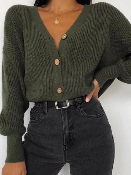 Women's Fashion Pure Color Long-sleeved Knit Top