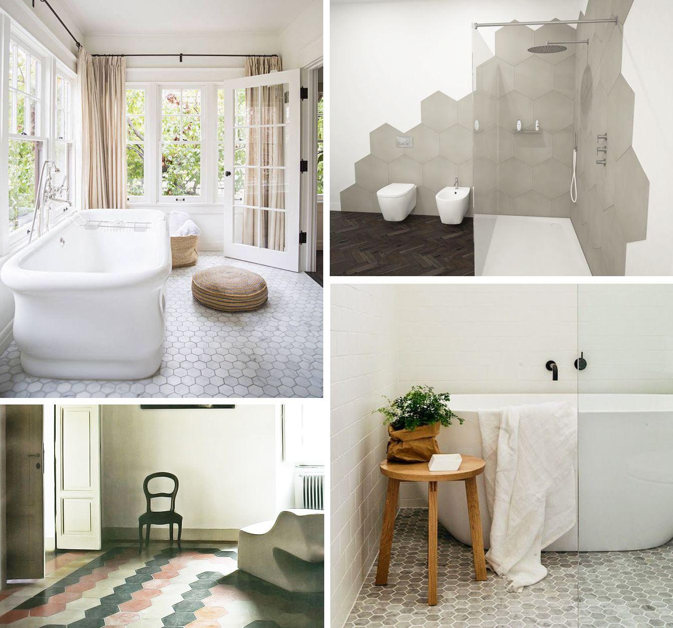 Hexagonale tegels in de badkamer #aarde kleuren | Badkamer | Pinterest