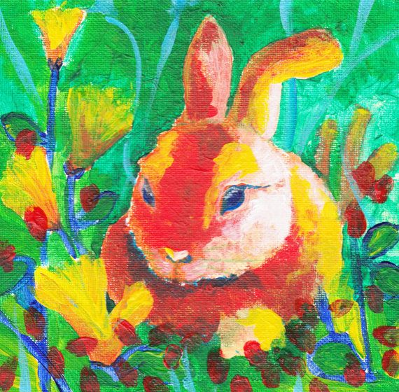 """Baby Red Rabbit and Flowers"" by Natalie Richardson Artero (02/27/16)"