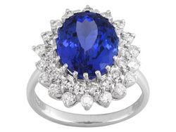 6.60ct Oval Tanzanite With 1.15ctw Round White Diamond 14k White Gold Ring