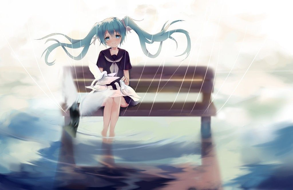 Hatsune Miku Sitting On Bench Outdoor Rain 4k Wallpaper Hatsune Miku Miku Hatsune