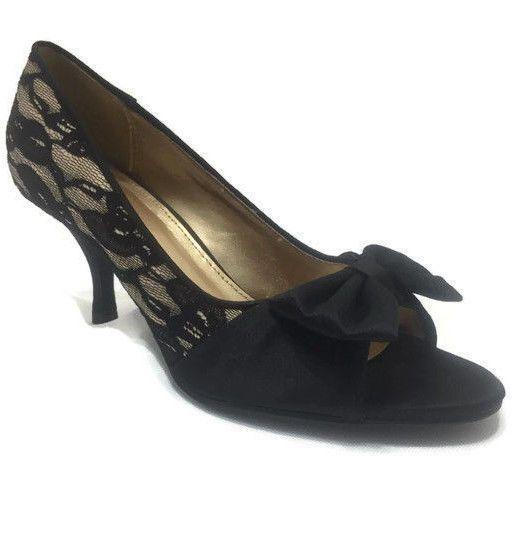 76f614029f66 Fioni Size 6.5 Heels Gold Black Lace Satin Bow Womens Open Toe Stiletto  Shoes  Fioni  OpenToe  Formal