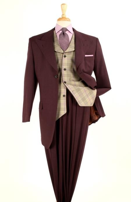 fc3dc68db48c Mens 3 piece 100 Wool Fashion Suit - Glen Plaid Vest Gold Burgundy  199.00  AT vintagedancer.com