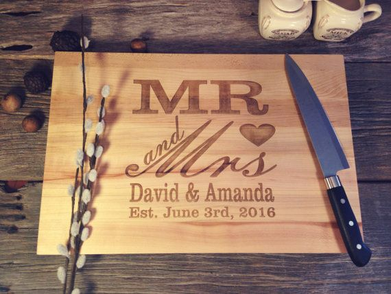 personalized maple canuck cutting board laser engraved w mr and mrs