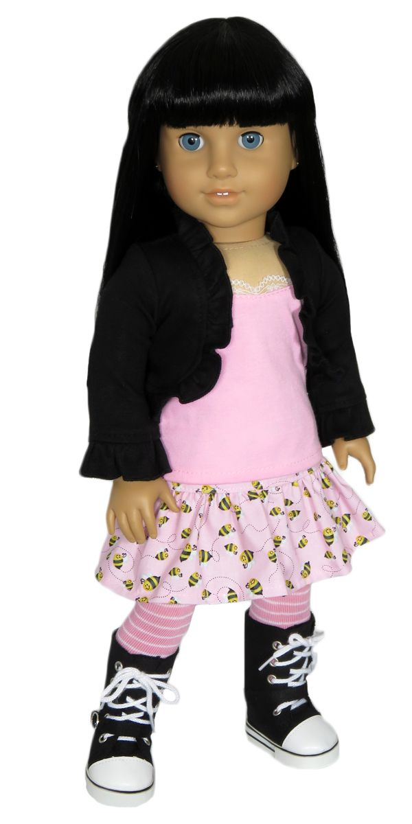 American Girl Doll Clothes Outfit - Silly Monkey - Black Shrug, Pink Tank, Bumble Bee Skirt, and Tights, $24.00 (http://www.silly-monkey.com/products/black-shrug-pink-tank-bumble-bee-skirt-and-tights.html)