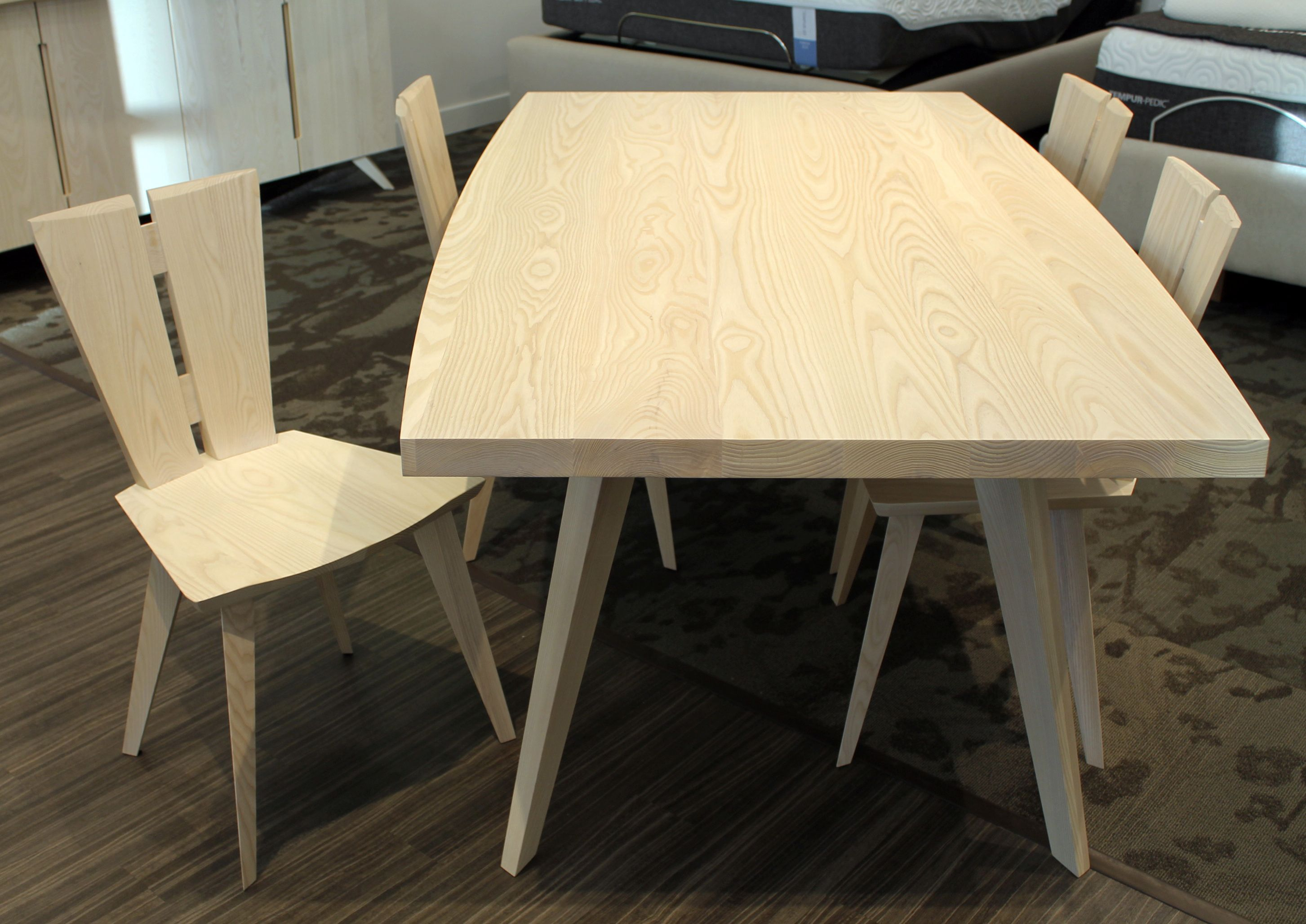The axis dining table and chairs by copeland furniture in vermont sustainable solid wood ash design