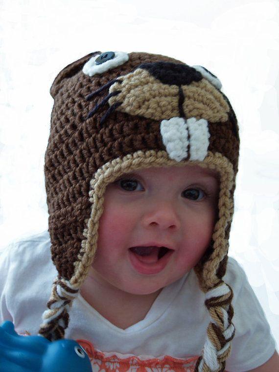 Crochet beaver hat (3 mos. to preteen sizes)