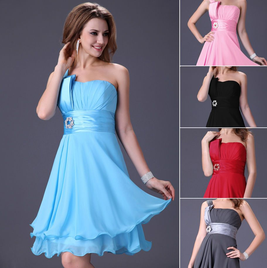 Formal Gowns Short Chiffon Evening Party Bridesmaid Cocktail Wedding ...