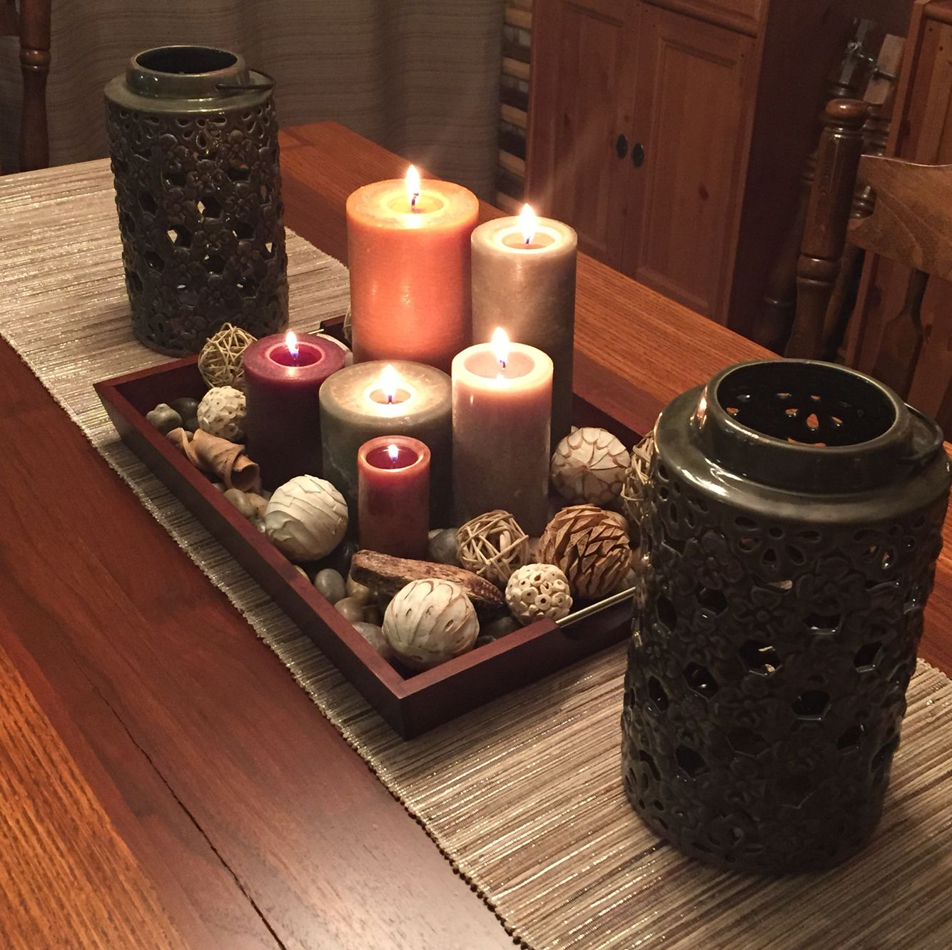 New centerpiece for dining room table with a little for Candle dining room centerpieces
