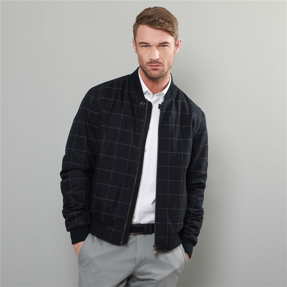 Navy Grey Fincashel Checked Donegal Tweed Bomber Jacket Seasonal Collections From Magee1866 Bomber Jacket Bomber Jacket Men Jackets [ 1000 x 1000 Pixel ]